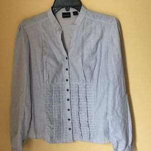 Westbound Blue White Striped Shirt With Ruffle
